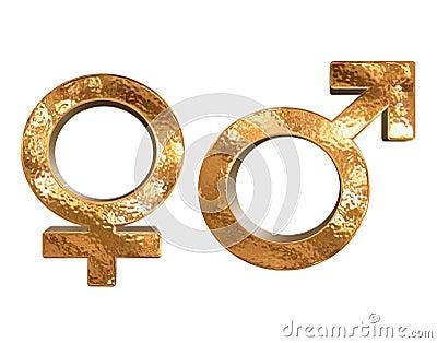 Goldene Symbole des Mustergeschlechts-Geschlechtes 3D getrennt