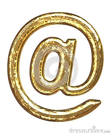 Goldener Schrifttyp. ?? Am Zeichen
