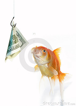 Free Goldfish And Dollar Stock Photography - 1610702
