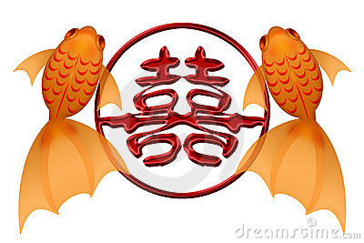 Goldfish Pair with Double Happiness Chinese Symbol