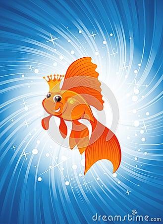 Goldfish on shine blue