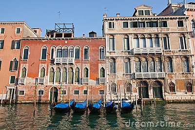 Goldola parking in Venice