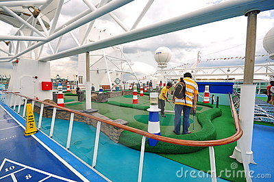 Golf area on 'The legend of the Seas' Editorial Stock Photo