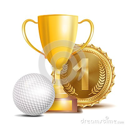 Free Golf Award Vector. Sport Banner Background. White Ball, Gold Winner Trophy Cup, Golden 1st Place Medal. 3D Realistic Stock Photo - 103850580