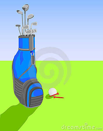 Golf bag with clubs and ball