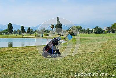 Golf bag on a course