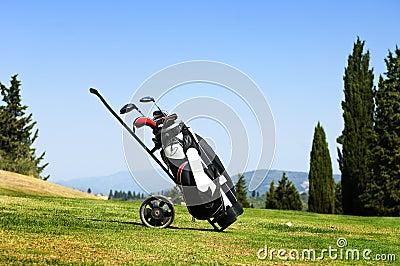 Golf bag on fairway
