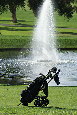 Free Golf Bag On The Golf Course Royalty Free Stock Photo - 14594955