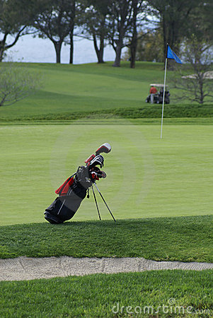 Free Golf Bag On The Golf Course Royalty Free Stock Image - 14594956