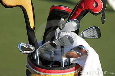 Golf bag and the set of clubs