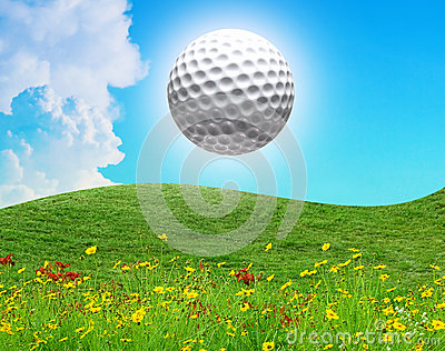 Golf ball in the air