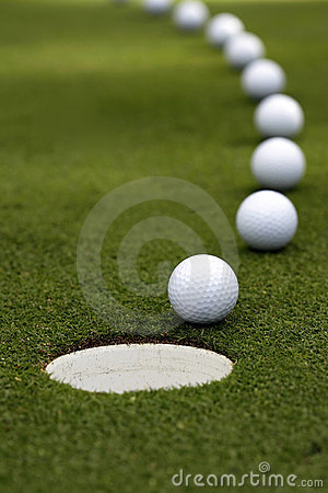 Golf Ball - Breaking Putt Royalty Free Stock Image - Image: 14563456