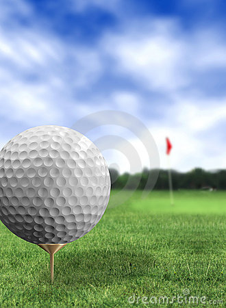 Golf ball close up in a course