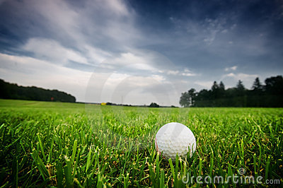 Golf ball on on the field