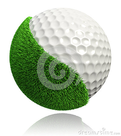Golf ball with green grass