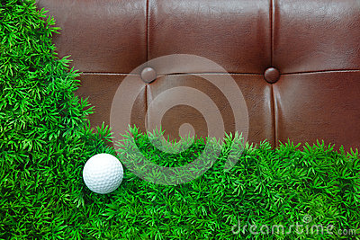 Golf ball on green grass and luxury leather