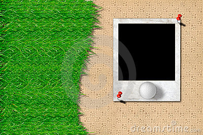 Golf ball and green grass with photo frame