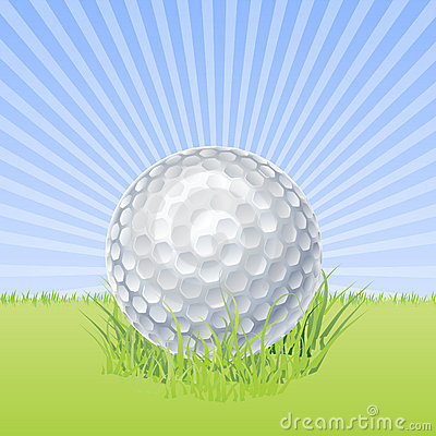 Golf ball on green macro vector