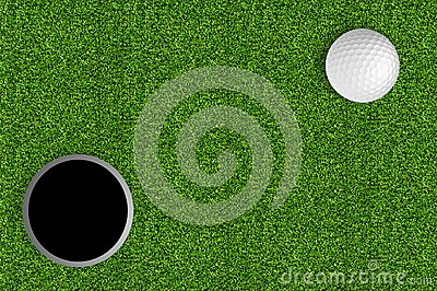 Golf ball and hole on the green grass of the golf