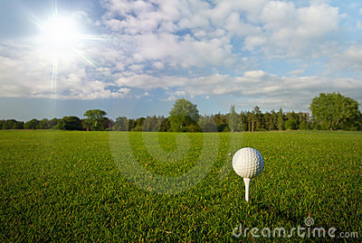 Golf ball in the idyllic scenery
