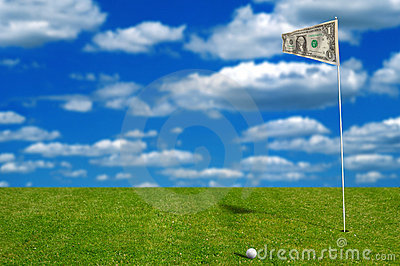 Golf ball with money flag