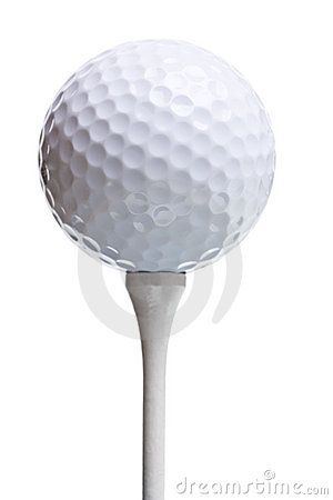 Free Golf Ball On Tee Isolated On White Royalty Free Stock Photo - 8087585