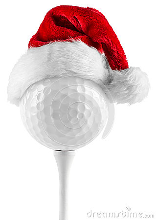 Free Golf Ball On Tee Santa Hat Stock Photos - 35848143