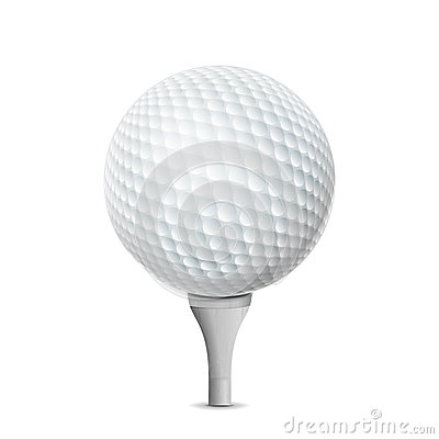 Free Golf Ball On White Tee. Vector Realistic Illustration Isolated Stock Photo - 94461080