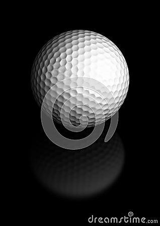 Golf ball over black background