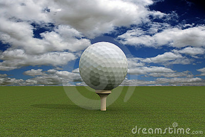 Golf ball over blue sky