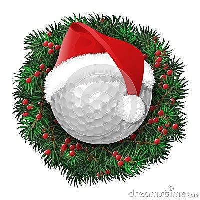 golf ball  evergreen holiday wreath stock vector image