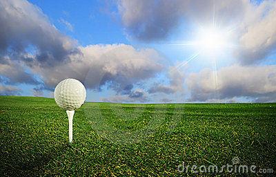 Golf ball in perfect scenery