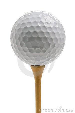 Free Golf Ball Sitting On Tee Isolated On White Stock Image - 20570601