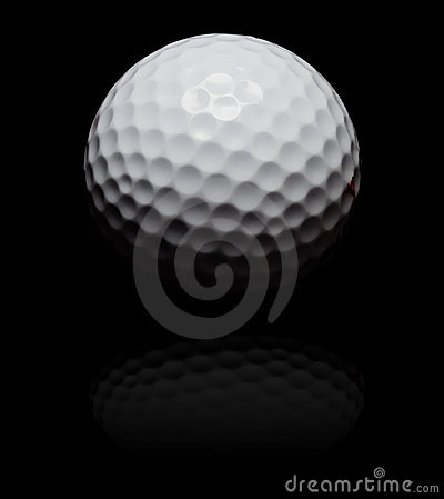 Golf ball in spot on black