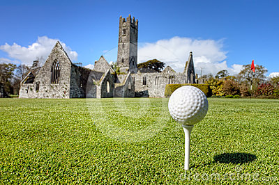Golf ball on the tee in Adare, Ireland.