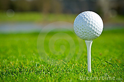 Golf ball on the tee close up