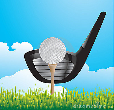 Golf ball on tee with club on grass