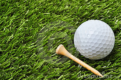 Golf Ball and Tee with Copy Space