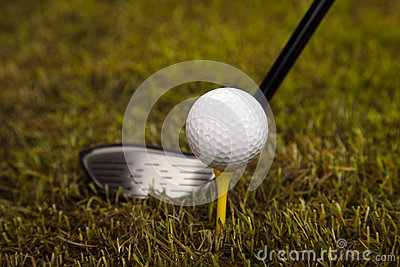 Golf ball on tee in driver