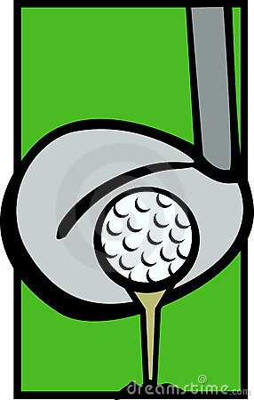 Golf ball tee and driver club vector illustration
