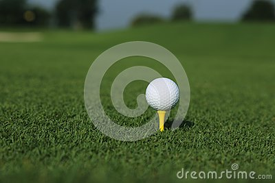 Golf ball on a tee