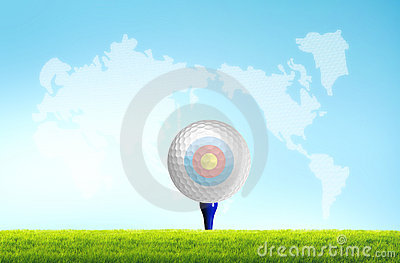 Golf ball on the tee off