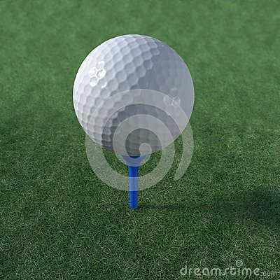 Golf ball teed up ready to play