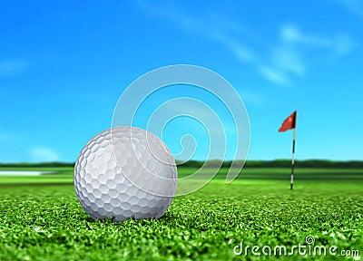 Golf Ball on Turf and Blue Sky