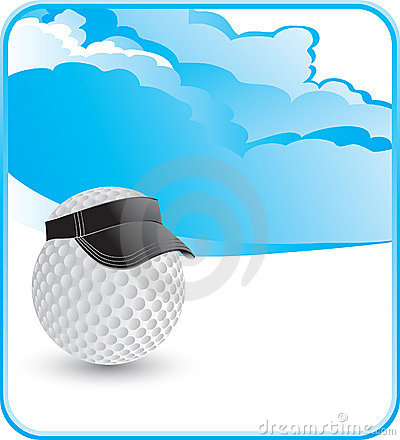 Golf ball with visor with cloud backdrop