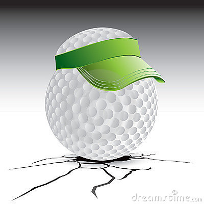 Golf ball with visor on cracked ground