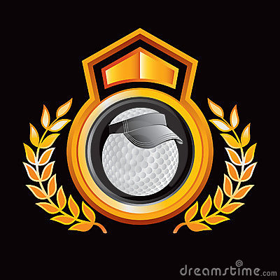 Golf ball with visor on gold royal crest