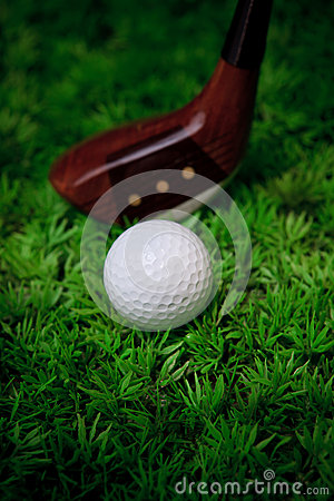 Golf ball and wood driver on green grass of golf c