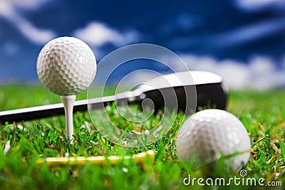 Golf balls and bat