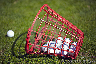 Golf balls bucket on driving range